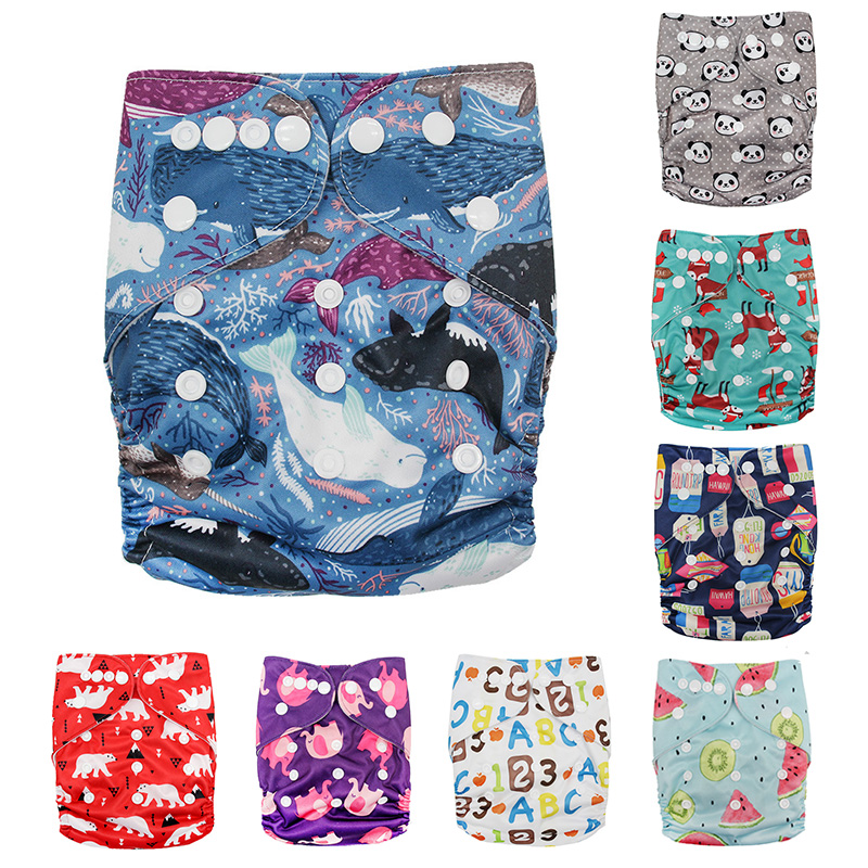 1Pc Baby Washable Reusable Real Cloth STANDARD Hook-Loop Pocket Nappy Diaper Cover Wrap Suits Birth To Potty One Size 0-3years