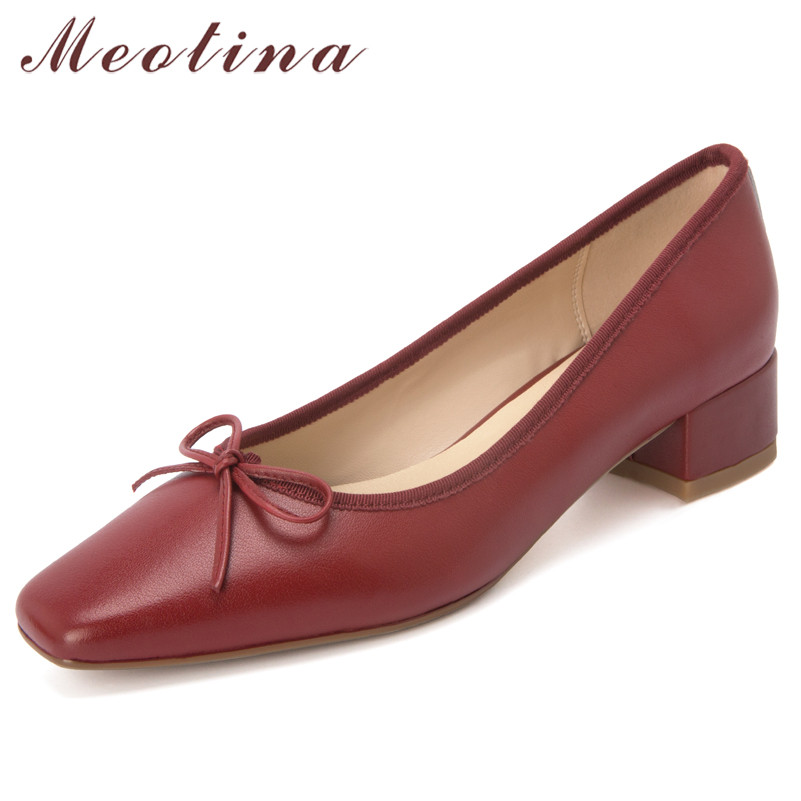 Meotina High Heels Women Shoes Natural Genuine Leather Bow Chunky Heel Shoes Cow Leather Square Toe Shoes Ladies Red Size 33-40