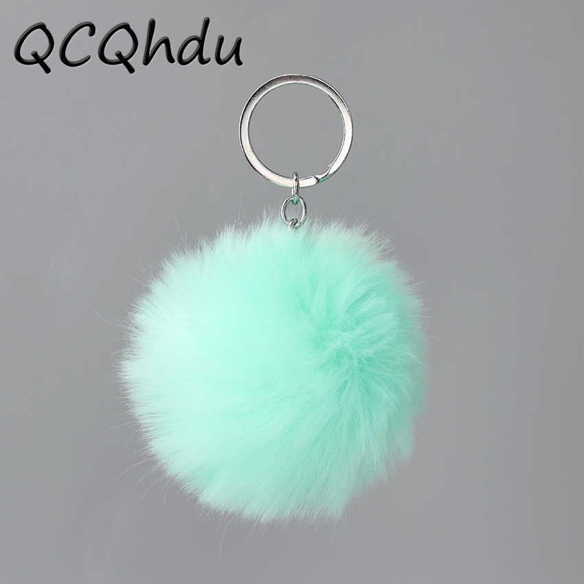 Adorável Fluffy Bola De Pêlo Pompom Mulheres Keychain Chave Anéis Da Cadeia Pingente Bonito Hairball Artificial Carro Ornamentos Acessórios do Saco 1PC