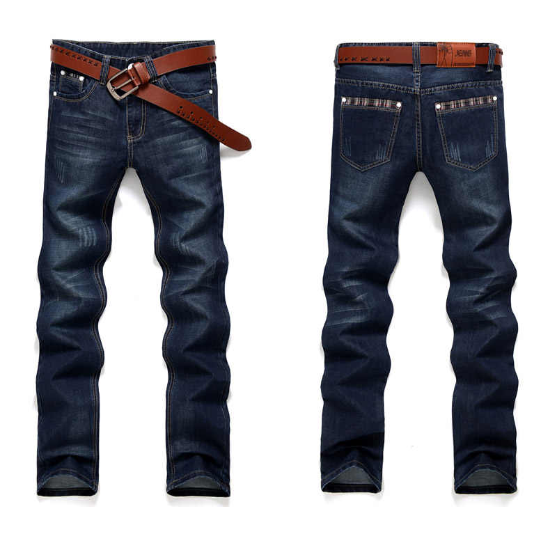 Fashion Europese Amerikaanse Stijl Stretch Mannen Jeans Luxe Mannen Denim Broek Slim Straight Deep Blue Gentleman Mens # G50