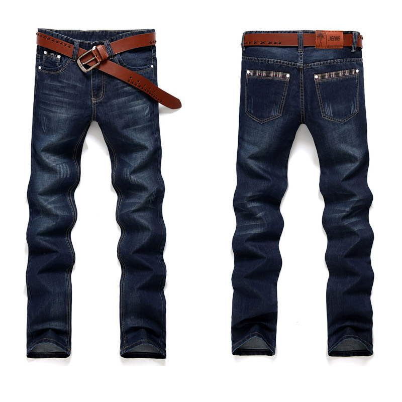 Fashion European American Style Stretch Men Jeans Luxury Men's Denim Trousers Slim Straight Deep Blue Gentleman Mens#G50
