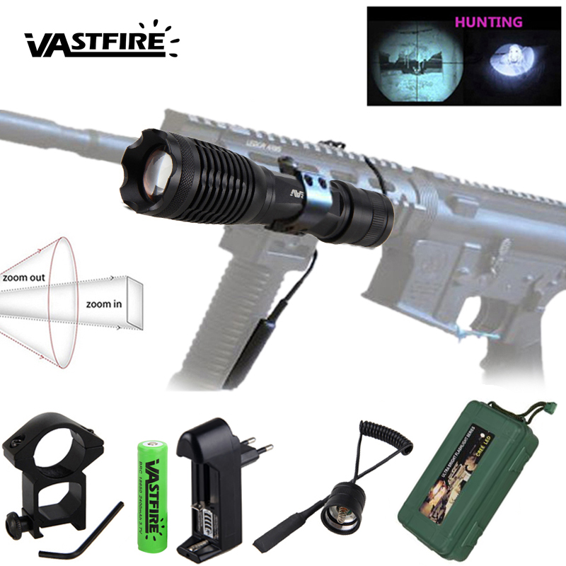 940nm 10w IR Weapon Light LED Night Vision Zoomable Infrared Radiation Focus Gun Lamp Hunting Flashlight+18650 Battery+Charger