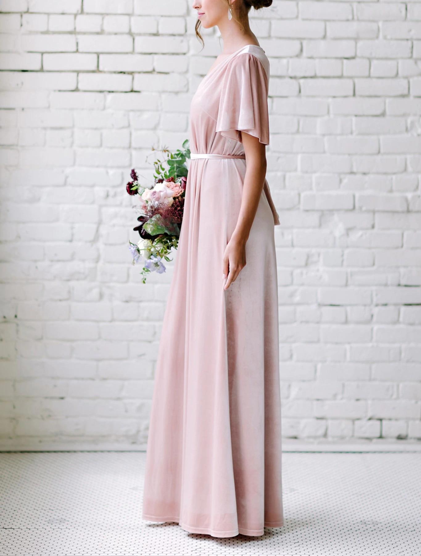 Pink Bridesmaid Dresses Long 2020 Velour Short Sleeves Vestido Madrinha V-Neck Wedding Guest Dress Vestido De Festa