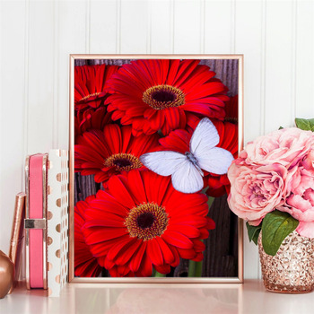 Huacan Diamond Painting Cross Stitch Floral Full Square Crystal Needlework Craft Diamond Embroidery Butterfly Christmas
