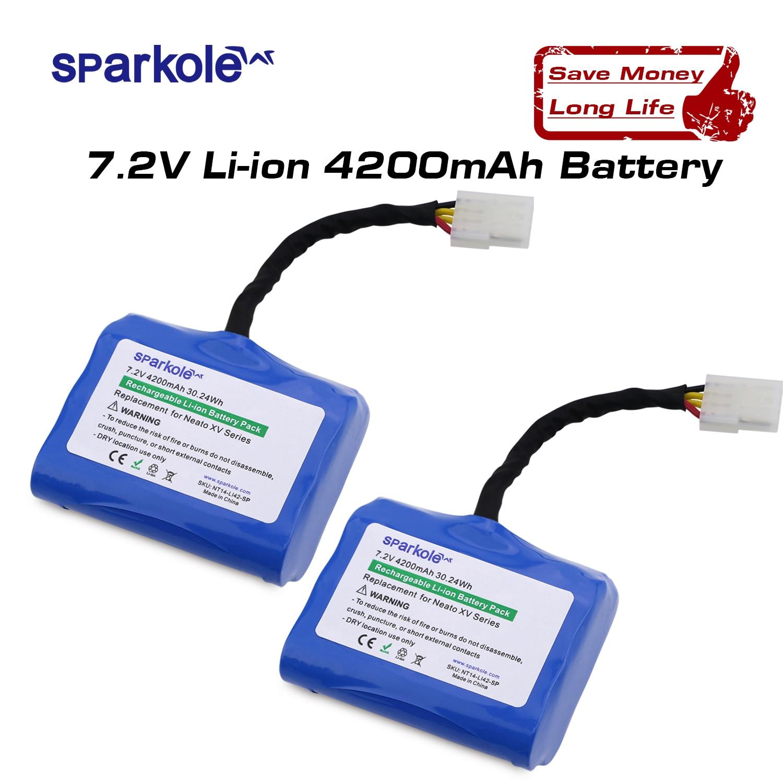Sparkole 4200mAh batterie Au Lithium pour Neato XV-11 XV-12 XV-14 XV-15 XV-25 XV-21 XV Signature Pro Aspirateur Robot 2Pack UL