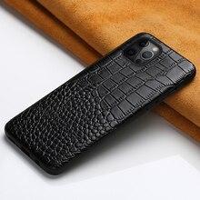 Caso de couro genuíno para o iphone 12 mini 12 pro max 11 pro max x xr xs max 5 5S 6s 6 7 8 plus se 2020 360 capa protetora completa
