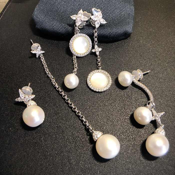 Женские серьги-кисточки из 100% стерлингового серебра S925 пробы с перламутровым натуральным жемчугом, браслеты и ожерелья, ювелирные изделия от бренда