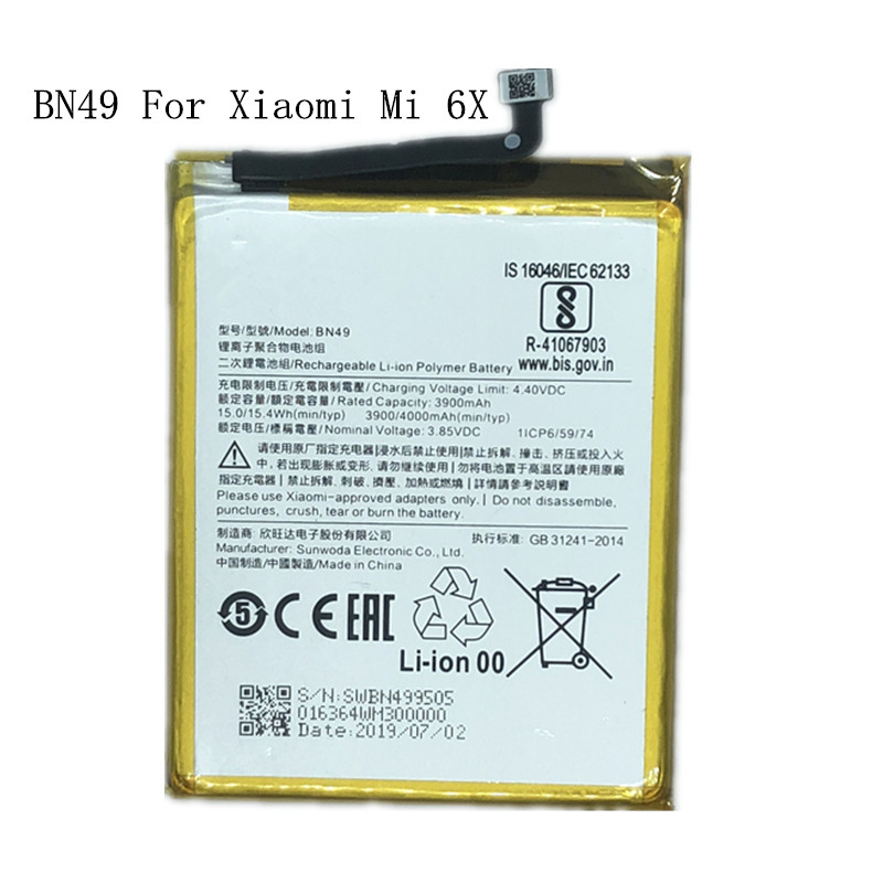 100% Original For Xiaomi <font><b>Mi</b></font> <font><b>6X</b></font> <font><b>Battery</b></font> BN49 4000mAh 100% New Replacement <font><b>Battery</b></font> For Xiaomi <font><b>Mi</b></font> <font><b>6X</b></font> Cell phone <font><b>Battery</b></font> image