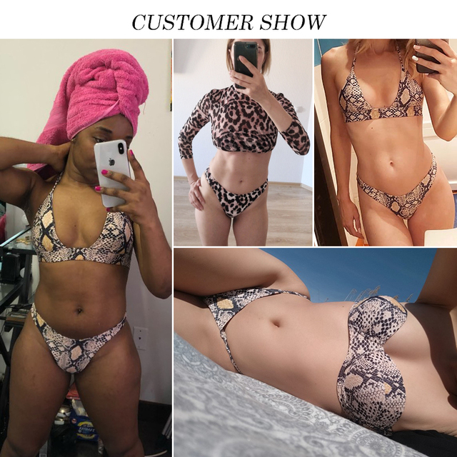 Snake Print Push Up Bikini Set 2