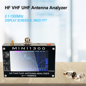 MINI1300 5V/1.5A HF VHF UHF Antenna Analyzer 0.1-1300MHZ Frequency Counter SWR Meter 0.1-1999 with 4.3 TFT LCD Touch Screen mini60s 1 60mhz hf swr antenna analyzer meter with bluetooth function