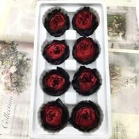 8pcs/box eternal flower Austin rose flower diameter 4 5cm high quality grade A Preserved Flowers gift box material