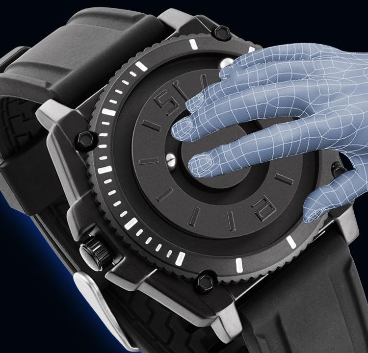 H682c612b22c2451bb43809325898fbabL Eutour magnetic watch parallel time and space black technology men's couple wristwatch women's wristwatch personality gel wristb