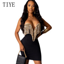 TIYE Glitter Party Dresses Sexy Off Shoulder Tube Dress Summer Women Black Basic Bodycon Strapless Tassel Club Wear