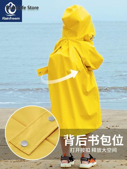 Waterproof Cute Long Raincoat Kids Yellow Pink Rain Ponch Jacket  Rain Partner Children Windbreaker Capa De Chuva Birthday Gift 3