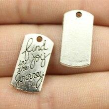 WYSIWYG 5 uds encantos encontrar la alegría en el viaje aleación de Color plata antigua accesorios para hacer joyas DIY 20x10mm