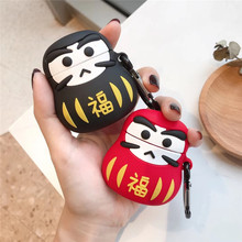 Japan Cute Good Luck Dharma Earphone Case For Apple Airpods 1 2 Silicone Protective Cover Accessories with Keychain