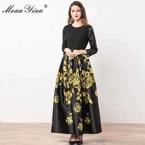 Image 2 - MoaaYina Fashion Designer Dress Summer Women Long sleeve Lace Patchwork Floral Print Ball Gown Elegant Dress