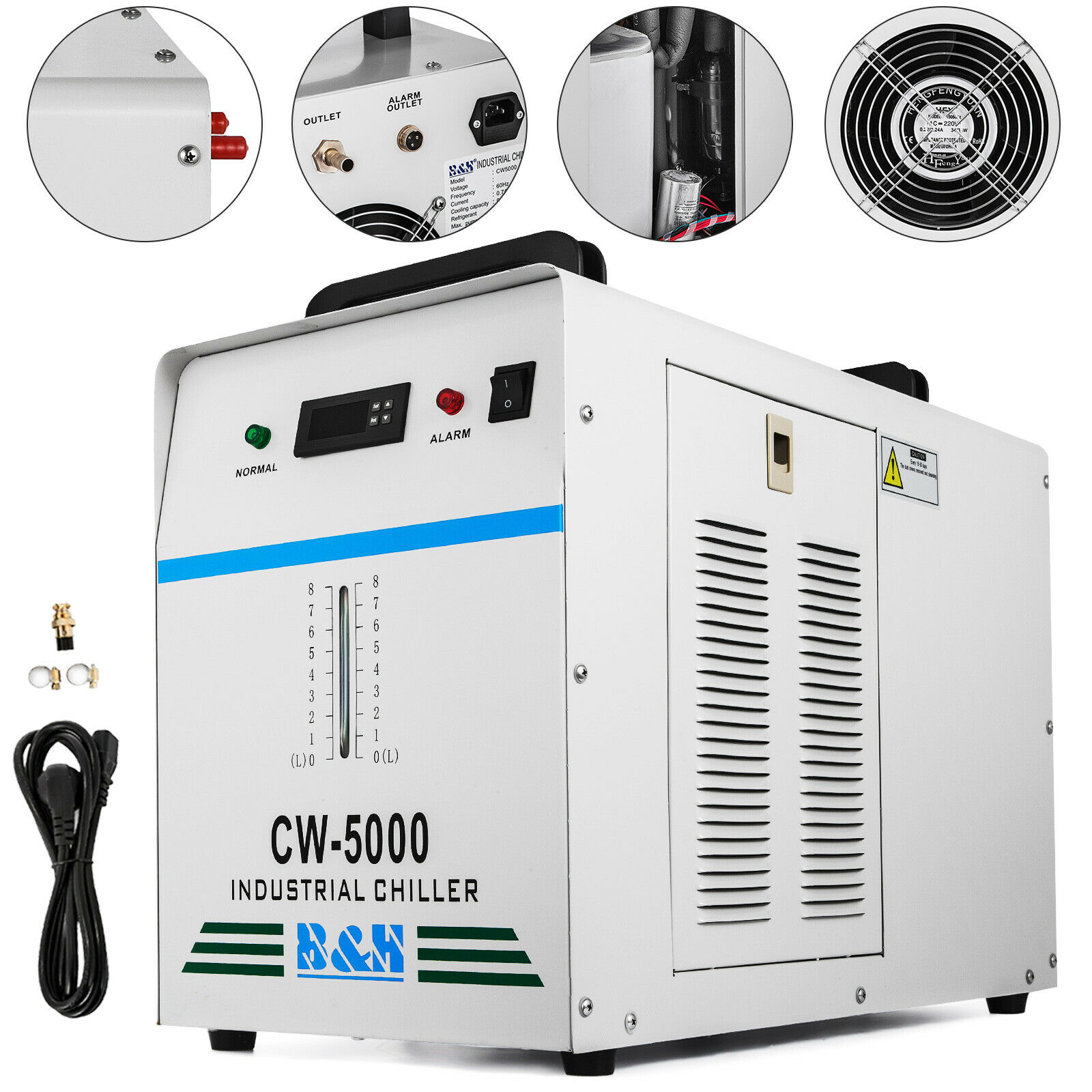 CW-5000DG INDUSTRIAL WATER CHILLER 6L TANK LASER EQUIPMENT CO2 GLASS LASER