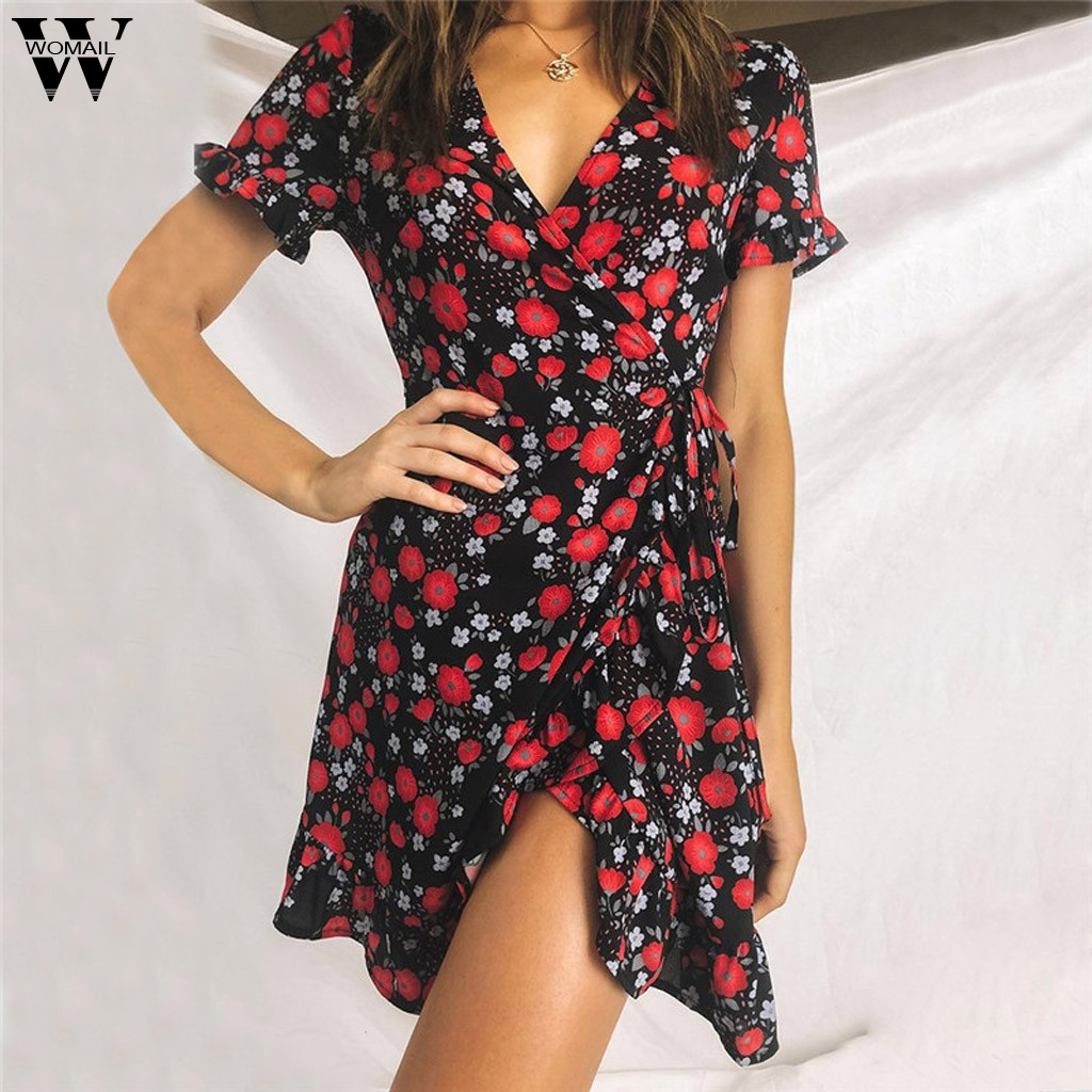 Womail <font><b>dress</b></font> Women Vintage <font><b>sexy</b></font> <font><b>Short</b></font> Sleeve Summer <font><b>V</b></font>-neck Bandage Mini <font><b>Boho</b></font> <font><b>Floral</b></font> <font><b>Print</b></font> <font><b>Beach</b></font> Evening Party <font><b>beach</b></font> holiday 81 image
