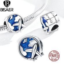 BISAER – perles de voyage en argent Sterling 925, breloques rondes en émail bleu, adaptées au Bracelet et au collier pendentif, bijoux ECC1568