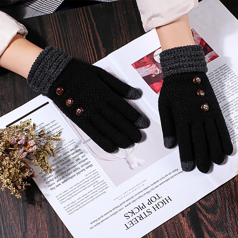 Fashion Winter Unisex Women Men Touch Screen Warm Cashmere Covered Finger Gloves