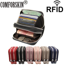 COMFORSKIN New Arrivals Genuine Leather RFID Anti-theft Brush Card Holders Large Capacity Double Zipper Compartment Wallets