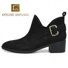 KATELVADI Women Boots Dr Ankle Winter Work Black Flock Solid With Short Plush Size 34-39  K-486