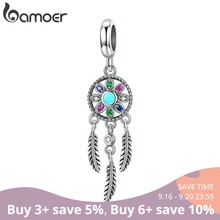 bamoer Genuine 925 Sterling Silver Bohemian Dream Catcher Pendant Charm fit Bracelet & Necklace Silver DIY Jewelry Making SCC961(China)