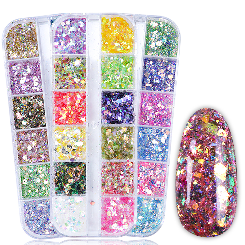 12 Colors/Set Mermaid Nail Glitter Sequins Round Hexagon Sparkly Paillette Flakes Holographic Decoration Nail Art Manicure TR735