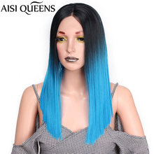 AISI QUEENS Synthetic Lace Wigs for Women Sale Ombre Black Blue Straight Hair Mi