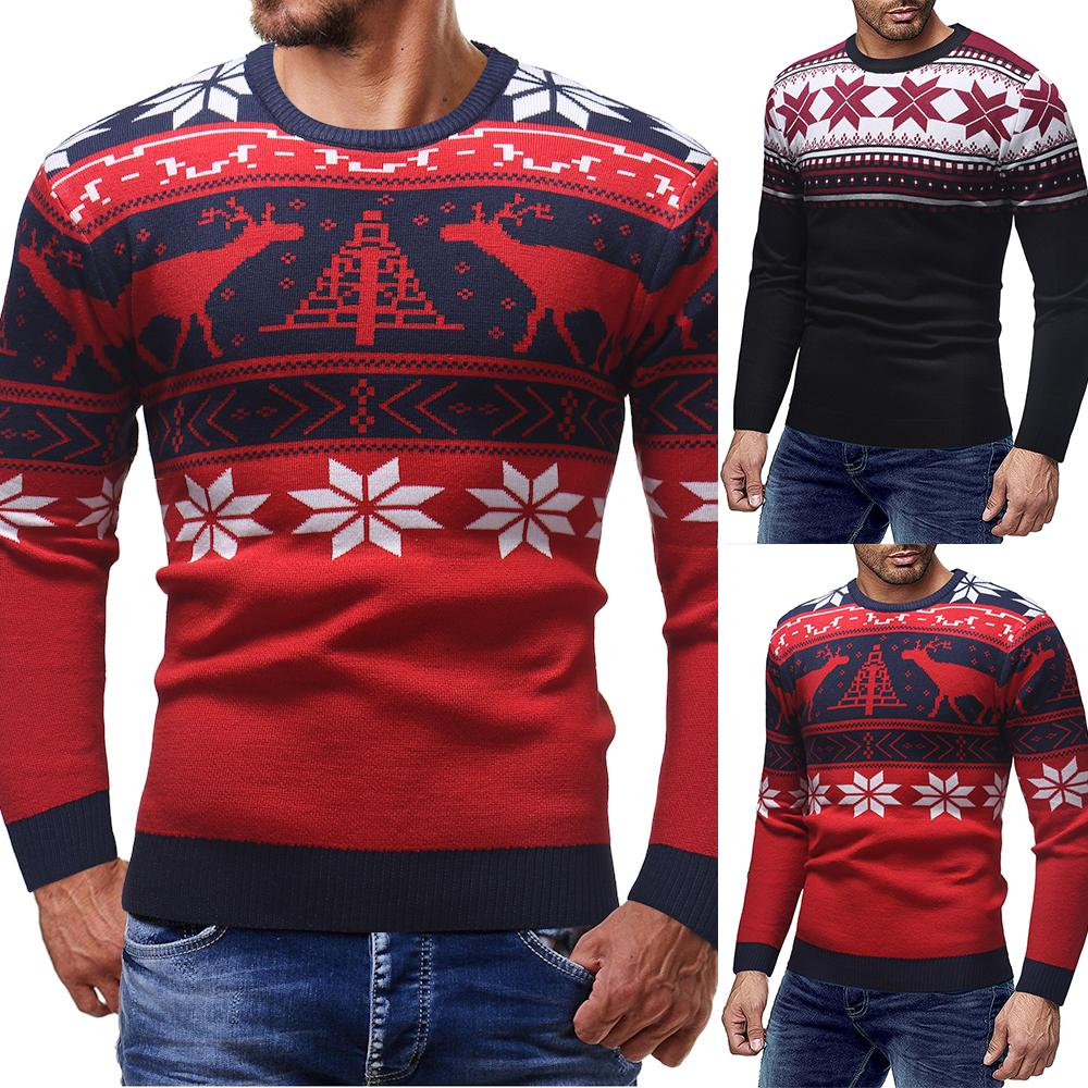 Christmas Cotton Printing Sweater Men 2019 Autumn Winter Jersey Jumper  Pullover Men O-neck Knitted Sweaters