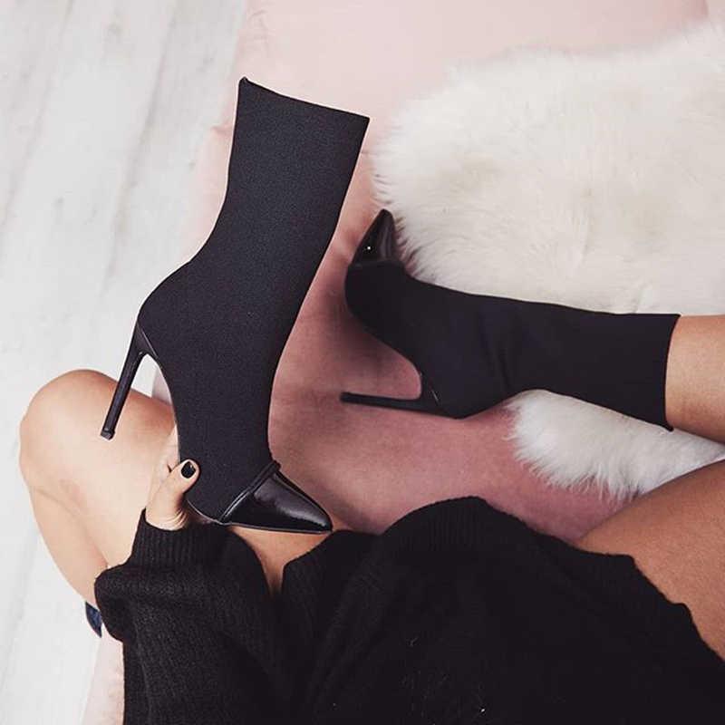 Năm 2019 Thời Trang Cao Cấp Nữ 11.5 Cm Giày Cao Gót Tôn Sùng Lụa Mút Giày Đế Gót Mắt Cá Chân Giày Scarpins Hứa Mũi Nhọn Mùa Xuân giày