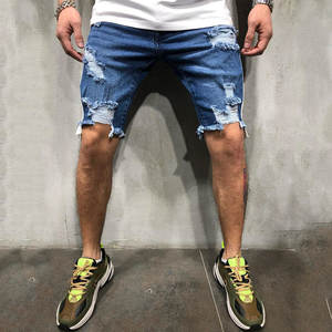 Jeans Brand Clothing Short-Pants Ripped Streetwear Summer New-Fashion Leisure Breathable
