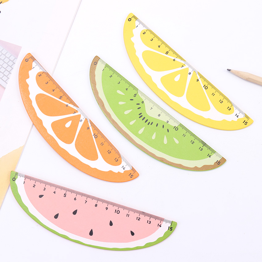 15cm Cute Wood Fruit Straight Ruler Precision Student Learning Office Stationery Drafting Supplies
