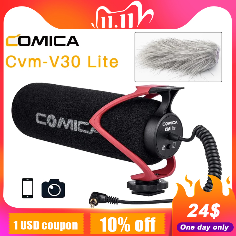 Comica CVM-V30 LITE  Video Microphone Super-Cardioid Condenser On-Camera Shotgun Microphone for Nikon Canon Sony iPhone Huawei