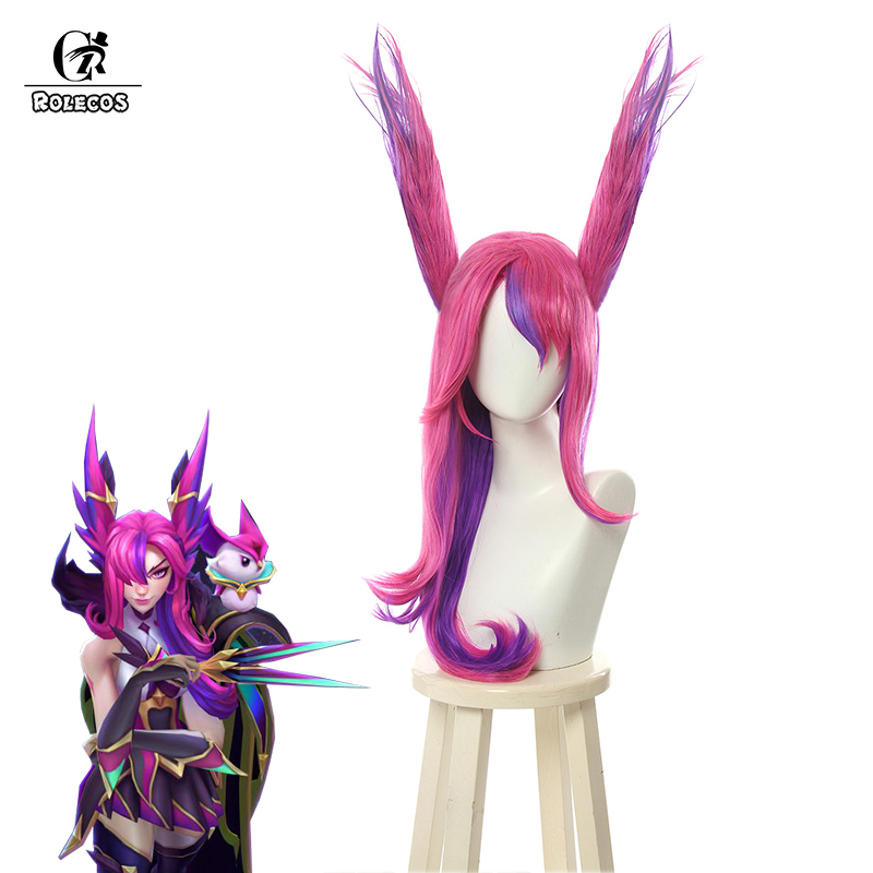 ROLECOS Game LOL Xayah Cosplay Hair Ears Star Guardians Xayah Cosplay Long Headwear LOL Mixed Pink Purple Synthetic Hair Women