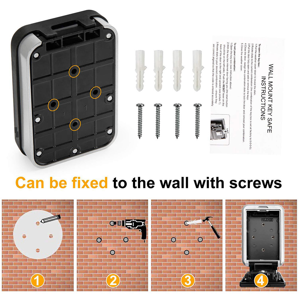 Wall Mounted/Padlock 4-Digit Combination Key Lock Storage Safe Security Box Home Office NC99