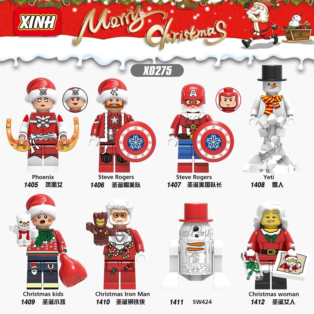 X0275 Christmas Super Heroes Figure Phoenix Iron Man Snowman SW424 Kids Woman Captain America Building Blocks Toy Legoing