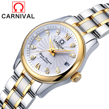 Relogio Feminino CARNIVAL Luxury Women Mechanical Watches Ladies Waterproof Crystal Sapphire Automatic Wristwatch Calendar Clock