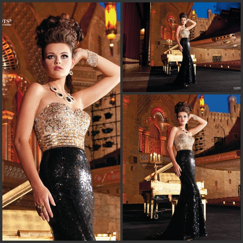 Sharking Much Crystal Bead Sequins Sweetheart Neckline Mermaid Sexy Evening Dresses 2019 Beautiful Evening Gowns Gold And Black