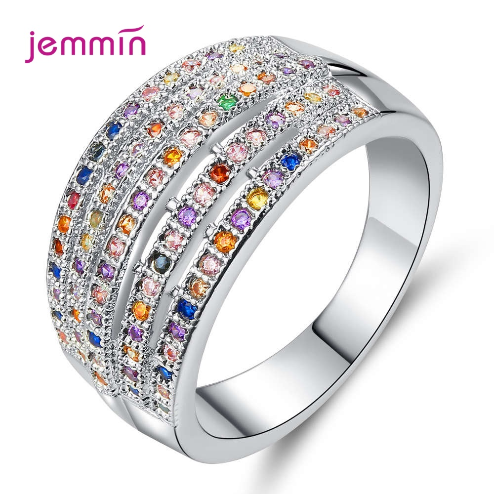 New Arrival Colorful CZ Zircon Stone Rainbow 925 Sterling Silver Rings For Women Fashion Wedding Engagement Jewelry