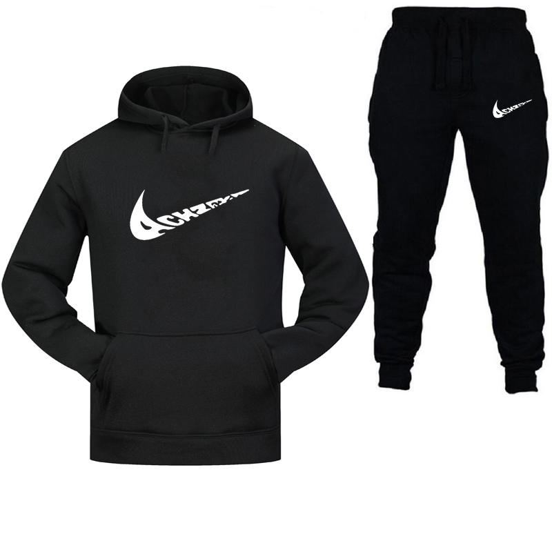 New 2019 Brand Tracksuit Fashion Men Sportswear Two Piece Sets All Cotton Fleece Thick Hoodie+Pants Sporting Suit Male