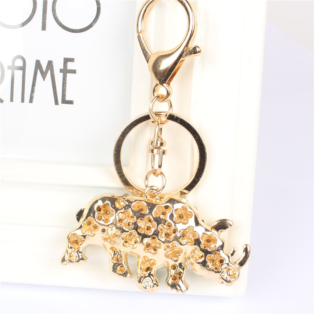 Rhino Cow Pendant Charm Crystal Key Chain for Handbag Bag Purse Carkey Gift