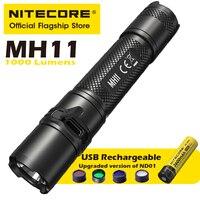 NITECORE MH11 USB 충전식 손전등 강력한 야외 승마 밤 낚시 슈퍼 밝은 휴대용 LED 손전등 18650 배터리