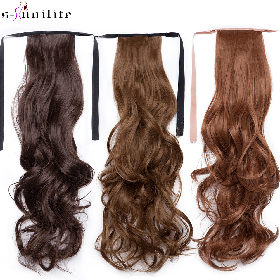 SNOILITE 18'' Long Wavy Ponytail Clip In One Piece Ponytail Hair Extension Drawstring Synthetic False Hairpiece With Hairpins