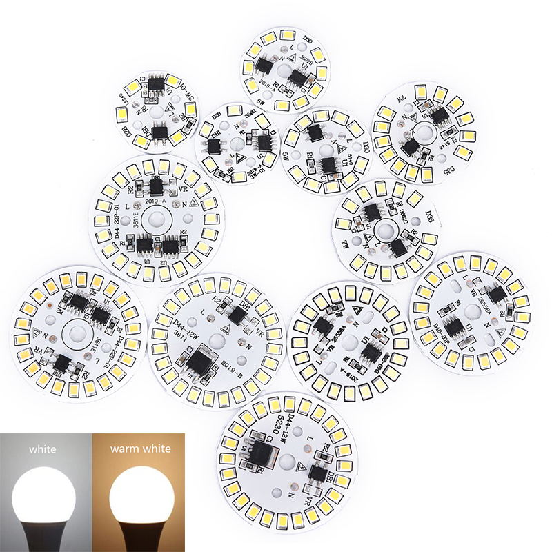 1pc LED Bulb Patch Lamp SMD Plate Circular Module Light Source Plate For Bulb Light White/warm White