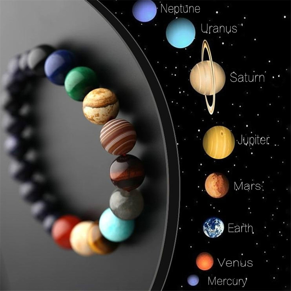 Liebhaber Acht Planeten Natürliche Stein Armband Universum Yoga Chakra Galaxy Solar System Perlen Armbänder für Männer Frauen Schmuck