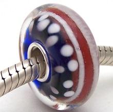 PJG1197 100% S925 Sterling Silver Beads Murano Glass beads Fit European Charms Bracelet charms diy jewelry Lampwork GlassBeads недорого