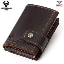 Tarjetero de aluminio para hombre, billetera de Metal delgada con bloqueo RFID, monedero automático, billetera para tarjetas de crédito, 2020