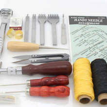 Professional Leather Craft Hand Stitching Sewing Tool Kit Skiving Sewing Tool Set Thread Awl Waxed Tweezers Thimble Groover